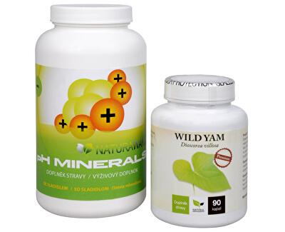 Doporučená kombinace produktů Na Kosti - Wild Yam + pH Minerals
