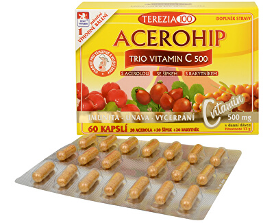 Terezia Company Acerohip Trio vitamín C 500 mg 60 kapsúl - ZĽAVA - POŠKODENÁ ŠKATUĽA