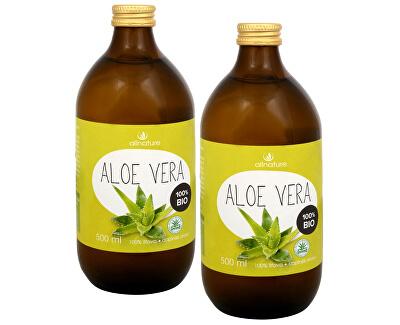 Allnature Aloe Vera - 100% Bio šťáva 500 ml (1+1) - SLEVA - poškozená etiketa