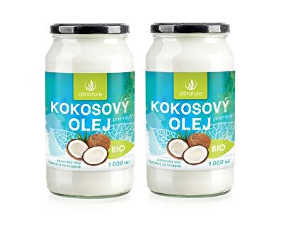 Allnature BIO Kokosový olej Premium 1000 + 1000 ml - SLEVA - umaštěná etiketa