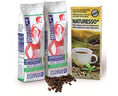 Monvitaly Darčekový balíček Fitness Coffee 2x250 g + Natu RESS s konopným semienkom 250 g