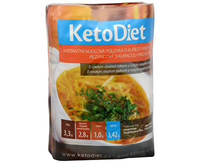 KetoDiet Proteinová polévka nudlová s kuřecí příchutí 7 x 33 g - SLEVA - POUZE 6 KS