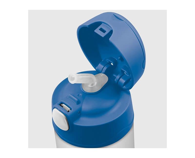 Thermos FUNtainer Dětská termoska s brčkem - modrá 470 ml. Novinka 12a38b53048